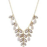 White Dangling Faceted Stone Statement Necklace by Charlotte Russe