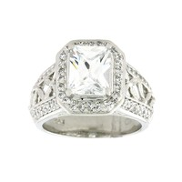 Diadore Sterling Silver Cubic Zirconia Ring (Stone/Silver)