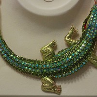 CROC ALLIGATOR COLLAR NECKLACE CHUNKY GREEN GOLD LARGE PENDANT CHAIN STATEMENT