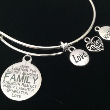 Mom Love Kindness Family Expandable Charm Bracelet Silver Adjustable Bangle Gift Trendy