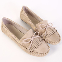 Slip-On Fringe Bow Flat Shoes