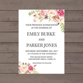 Rustic Boho Shabby Chic Wedding Invitation, Wedding Invitation, Floral Wedding Invitation, Printable Wedding Invitation, Instant Download
