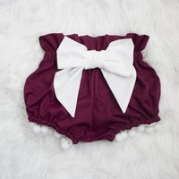 Wine Pom Bow Bloomers