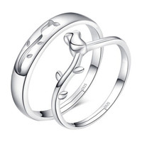 New Plated silver A Rose Opening Adjustable Valentine Couple Rings Gift