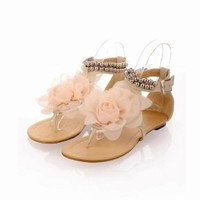 New Summer Fashion Flower Beaded Women's T Strap Sweet Flats Sandals Shoes