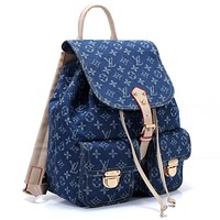 LV Fashion Hot Male and Female Jeans Printed Shoulder Bag Fashion Backpack
