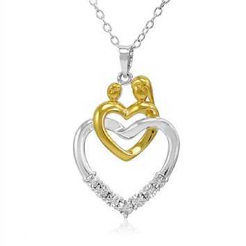 Mother and Child Diamond Heart Pendant Necklace in Two Tone Sterling Silver