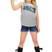 Dirtee Hollywood Selfie Stripe Muscle Tee | Mod Angel