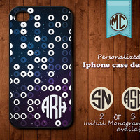 Personalized iPhone Case - Plastic or Silicone Rubber Monogram iPhone 4 4S Case Cover - K019