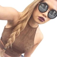 Sexy Women crop tops Femininas Tank Top Brown O-Neck Camisole Casual Vest Sleeveless Backless tank top women