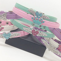 MATURE BDSM collar Pink turquoise bling charm day collar bondage jewelry discreet submissive sub pet little baby girl princess slave ddlg