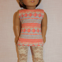 2 piece set! geometric print tank top, ivory floral print lace leggings , 18 inch doll clothes, American girl, Maplelea