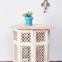 White Wash Floral Wood Table