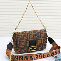 FENDI Women Fashion Leather Chain Crossbody Satchel