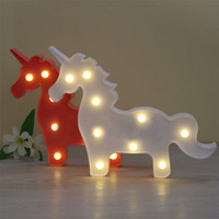 Lumiparty Marquee Sign Unicorn LED Letter Lamp 3D LED Baby Night Light Romantic Dim Mood Table Lamp for Kids' Room Decorations