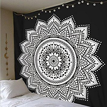 Lotus Wall Hanging Decor Tapestry Bedspread Beach Throw Blanket 59 in. Square