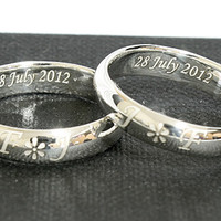 Engraved Ring Personalized Ring .925 Sterling Silver Ring Curve 4 mm width