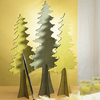 Wooden Die-cut Evergreen Trees - Set of 2 Assorted