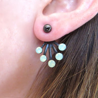 Mint Green Opal Black Brass Black Sunburst Ear Jackets Earring Stud Sun Burst Post Split Front Back In Out Jewelry Swarovski