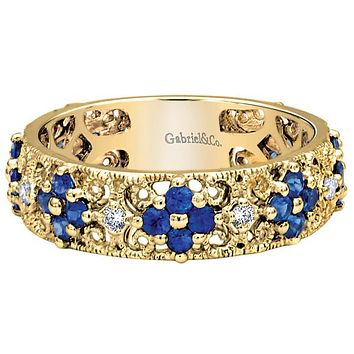 "Gabriel 14K Yellow Gold ""Celina"" Blue Sapphire and Diamond Ring"