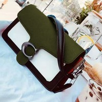 Coach hot selling green white and black patchwork color C word button cross women's shoulder bag