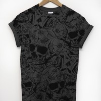 Skull and Roses All Over DG T Shirt