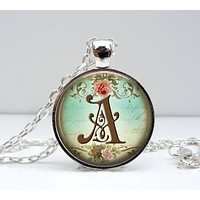 Initial Necklace - Bridesmaid Gift - Letter Necklace - Vintage Jewelry