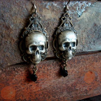Gothic Human Skulls Silver Ox Earrings IN WAITING by JewelrybyTiKi