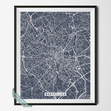 Montpellier Print, France Poster, Montpellier Poster, Montpellier Map, France Print, Street Map, France Map, Wall Art