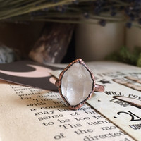 Raw Quartz Crystal Ring Large Crystal Ring / Healing Crystal Ring / Raw Stone Ring / Natural Stone Ring / Big Rough Crystal Bohemian Ring 7