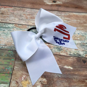 Glitter Monogram Cheer Bow, Patriotic Cheer Bow, Red, White, Blue, Monogrammed Gifts, Big Cheer Bow, Cheer Camp Bows for Cheer