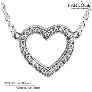 Sterling-Silver-Jewelry Loving Hearts of Brand Logo Pendant for Women 925 Silver Charm Pendants 2017 Valentine's Day