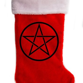 "Woven Pentacle Christmas Holiday Stocking 17"" Red/White Plush Hanging Sock Santa Stuffer Merry Gothmas"