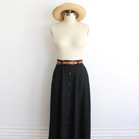 Vintage 80s Black Silky Button Up High Waisted Maxi Skirt // XS Small