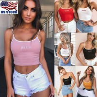 Women Casual Honey Pairs Tank Tops Vest Blouse Sleeveless Crop Top Shirt Cami US