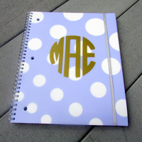 Purple and White Polka Dots Monogram Notebook for Back to School, College, and Work!