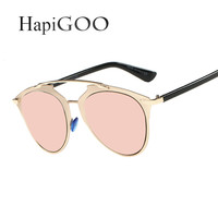 HapiGOO Women Reflected Cat Eye Sunglasses Fashion Female Brand Designer Mirror Sun Glasses Ladies Rose Gold Cateye Sunglasses