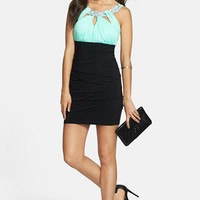 Way-In Embellished Colorblock Body-Con Dress (Juniors) (Online Only)