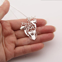 Siberian Husky Family Necklace 3D Cut Out Puppy Dog Lover Pendant Memorial Necklaces & Pendants Christmas Gift 2056 Lead Free