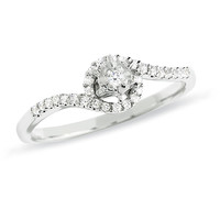 1/10 CT. T.W. Diamond Bypass Ring in 10K White Gold