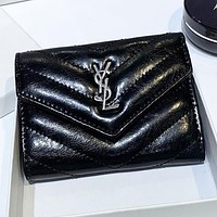YSL New fashion leather wallet purse women handbag Black