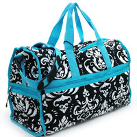 Quilted Damask Print Duffel Bag w/ Bonus Makeup Bag - Blue Trim Color: Blue Trim