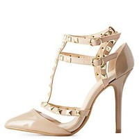 STUDDED T-STRAP POINTED TOE PUMPS