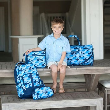Personalized Boys Travel Set, Boys Backpack, Duffle Bag, Lunchbox, Toiletry Bag, Pencil Case, Monogrammed Backpack, Cool Camo Travel Set