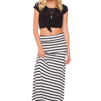 Isobel Stripe Maxi Skirt - White