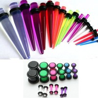36pc Ear Stretching Kit Neon Color Plugs and UV Tapers 00g 0g 2g 4g 6g 8g 10g 12g 14g Gauges Plus Instructions