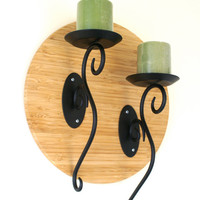 Wood and Metal Wall Sconce Round Upcycled Wood Plaque with 2 Scrolling Black Metal Pillar Candle Holders
