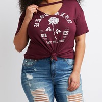 Plus Size Cut-Out Graphic Tee | Charlotte Russe