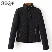 SCQP Solid Black Womens Jackets Zippers Pockets Office Autumn Bomber Jacket Women Casual 2015 New Winter Woman Outerwear Coats