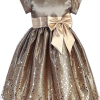 Gold Confetti Tulle & Satin Girls Holiday Dress 2T-10